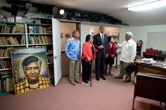 President Barack Obama views the office of Cesar Chavez before the dedication ceremony for the Cesar E. Chavez National Monument in Keene, Calif., Oct. 8, 2012.
