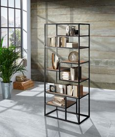 Regal im Industrial Look Wolf Furniture, Chalk Paint Furniture, Metal Furniture, Pallet Furniture, Furniture Makeover, Acacia, Forest Decor, Regal Design, Shelving Systems