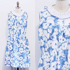 Bright Blue Floral Sundress with Ruffle Collar / Painted Flower Day Dress with Pocket