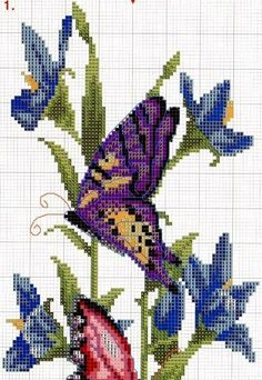 Butterfly Cross Stitch, Cross Stitch Bird, Beaded Cross Stitch, Crochet Cross, Cross Stitch Animals, Cross Stitch Flowers, Cross Stitch Charts, Cross Stitch Designs, Cross Stitching