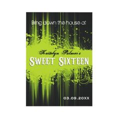 """A funky, smeared lime green background against rich black gives this Sweet 16 invitation the look of a nightclub or event flyer. A main message about the party prints at the top above the bright green grungy mass offseting their name and the words """"Sweet Sixteen"""" rendered in an ornate typestyle."""