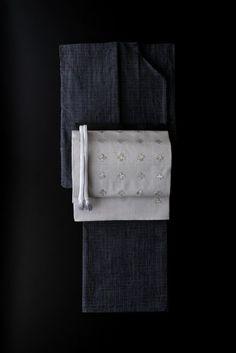 久留米絣の着物と紬刺繍袋帯