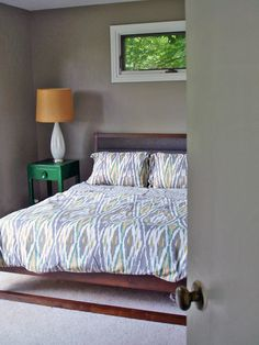 Gray Bedroom - love the colors and how the bedspread ties it together