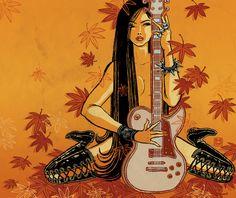 Estampes modernes by Yuko Shimizu Yuko Shimizu, Hooked On A Feeling, Instruments, Guitar Art, Illustration Girl, Comic Book Characters, Old Art, Erotic Art, Japanese Art