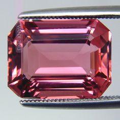Passionate Pink Tourmaline. Emerald Cut Untreated Brazil Origin 8.40ct Eye Clean