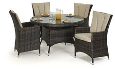 Brown La Round Table And 4 Chairs Set