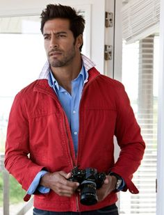 Red jacket - blue shirt - casual style