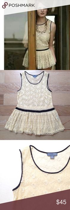 Lil by Anthropologie Calderbrook lace peplum top Lil by Anthropologie  Calderbrook romantic embroidered lace peplum top in size 10. EUC Anthropologie Tops Blouses