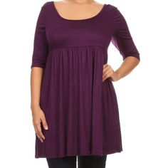 e3e1d83c91440 Women Plus Size Half Sleeve Solid Babydoll Casual Tunic Top Dress Purple XL  (D240 SD
