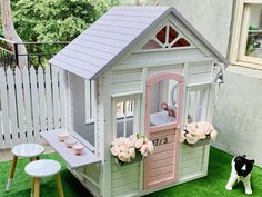 Kmart cubby hack ,so cute Girls Playhouse, Backyard Playhouse, Build A Playhouse, Backyard Playground, Playhouse Ideas, Kids Cubby Houses, Kids Cubbies, Play Houses, Kids Outdoor Play