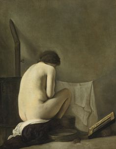 Paulus Bor  SEATED NUDE BATHING BY A STOVE
