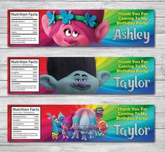 20 BRANCH TROLLS PERSONALIZED BIRTHDAY PARTY FAVORS WATER BOTTLE LABELS WRAPPERS