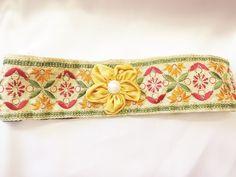Handmade headband multi color,pearl flower,stretch #Handmade