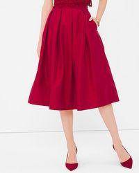 Pleated Taffeta Midi Skirt