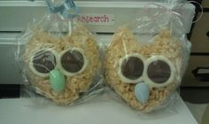 Owl rice krispy treats for a baby shower-- use a heart mold, then add ears. Beaks are jordan almonds, eyes are chocolate discs used for melting.
