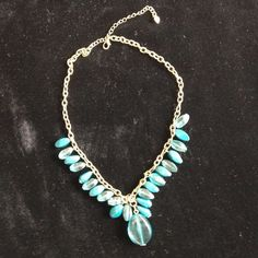 "Gold and blue stone necklace. 21"" long in total. In mint condition. Jewelry Necklaces"