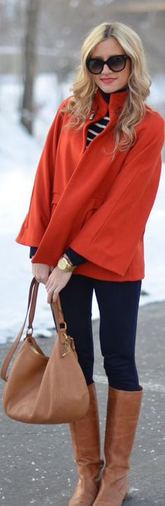 Adorable red jacket, white lined sweater, black pants and brown long boots with brown purse for fall! I have a red jacket like this already! Mode Chic, Mode Style, Fall Winter Outfits, Autumn Winter Fashion, Winter Wear, Winter Style, Autumn Style, Fall Chic, Winter Chic