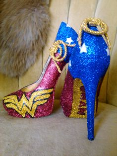 Wonder Woman heels. Fan art. Made to order. sizes 6-10. Cosplay. Art pop. Comic book wedding. by GlamAndGloryLab on Etsy