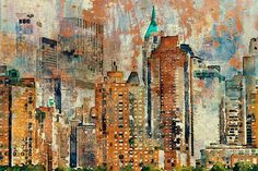 """ORL-7335-2 Colorful New York. New York Extra Large Canvas Art Print up to 72"""", New York Wall Decor Canvas Brown Rustic by Irena Orlov"""