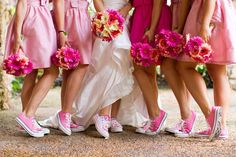 I like these types of bridesmaid dresses with Converse Shoes. Different colors though…