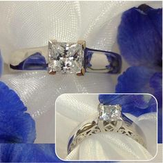 Contemporary engagement ring with artistic side view. (1) Tidewater Keepsake Jewelers