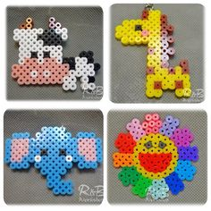 Perler bead collection by randbworkshop - I love the elephant! This could be done in small hexies.