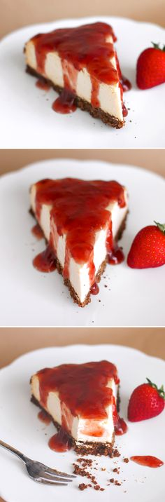 Classic Cheesecake... made HEALTHY! Oh yes. Super decadent, rich, thick and sweet, it's hard to believe it's low fat, low sugar, high protein and gluten free. One slice has only 240 calories, 7g fat and 17g protein!