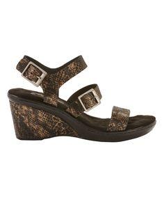 Black & Bronze Lizard Lean Leather Wedge Sandal