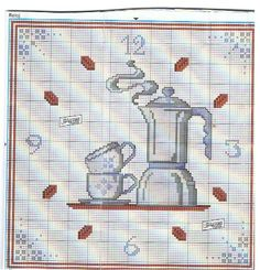 Gallery.ru / Фото #75 - Для кофеманов - irislena Cross Stitch Charts, Cross Stitch Patterns, Crochet Patterns, Coffee Clock, Filet Crochet, Mug Rugs, Projects To Try, Arts And Crafts, Tapestry