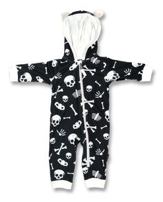 Six Bunnies Black and White Skull and Bones Baby Playsuit
