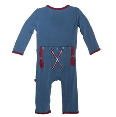 Applique Coverall in Twilight Skis from Kickee Pants - There is just nothing better than the soft comfort your little one feels in this wardrobe favorite!  Changes are a breeze thanks to our swell back flap that snaps open for easy diaper access.