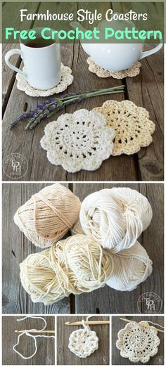 Farmhouse Style Coasters Free Crochet Pattern - 70 Easy Free Crochet Coaster Patterns for Beginners - DIY & Crafts