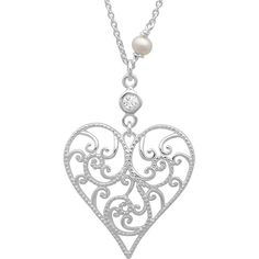 Sterling Essentials Sterling Silver Cubic Zirconia and Pearl Filigree... ($20) ❤ liked on Polyvore featuring jewelry, necklaces, white, sterling silver pendant necklace, sterling silver pendant, sterling silver heart pendant, cubic zirconia pendant necklace and pearl heart necklace