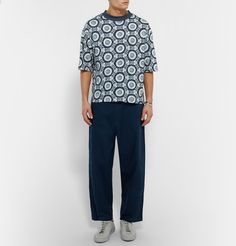 <b>Designed exclusively for MR PORTER.</b> <a href='http://www.mrporter.com/mens/Designers/Sasquatch_Fabrix'>Sasquatchfabrix.</a> designer Mr Daisuke Yokoyama was inspired by traditional Japanese floral patterns in the creation of this printed T-shirt. Cut in a loose fit from soft cotton-jersey, this crew-neck piece features raw edges for a cool, contemporary feel. Wear yours with wide-leg trousers.
