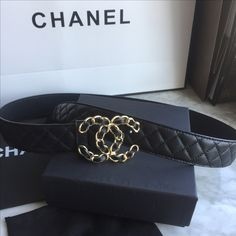 Chanel woman quilted leather belt