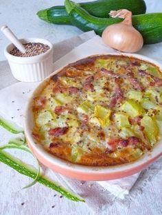 Un gratin de courgettes aux lardons, relevé de moutarde http://jecuisinesansgluten.com/gratin-sans-gluten-courgette-lardons-oignons-moutarde/