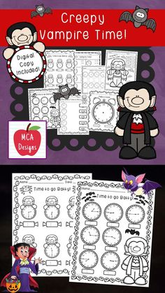 This product includes various no-prep worksheets that focus on telling time to the hour, half hour, quarter hour, and five minutes. Worksheets are designed to help your students grasp a better understanding of how to tell time. This product is designed to be used as mini-lessons, supplements to larger lesson plans, extra practice, or homework. Each worksheet/activity is accented with cute vampire graphics! #teacherspayteachers #tpt #time #halloween Teacher Resources, Classroom Resources, Teaching Ideas, 1st Grade Activities, Holiday Activities, Time To The Hour, Halloween Math, 2nd Grade Classroom, Math Workshop
