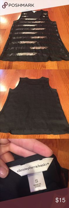 Sparkle tank Black tank with black and silver sparkles Christopher & Banks Tops Tank Tops
