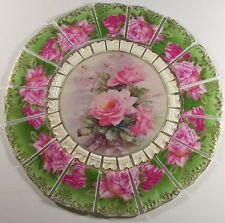 CHINA MOSAIC TILE SET VINTAGE SHABBY PINK ROSES GREEN GOLD VICTORIAN 7 3/4""