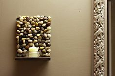 So cute...and a great way for me to incorporate candles when I don't have much table space for them!     Diy stone sconces. What a quick, cheap and cool idea. I am going to make some with a taller back and have them hang on the fence on my back patio.