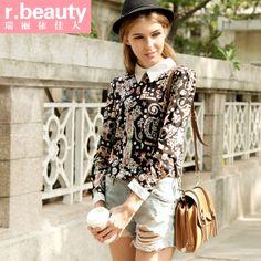 R . beauty female autumn shirt vintage top basic turn-down collar long-sleeve chiffon shirt r13c2011 US $12.45