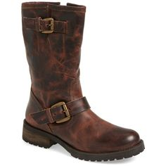 Steve Madden 'Shevron' Biker Boot (Women) ($60) ❤ liked on Polyvore featuring shoes, boots, brown leather, steve-madden shoes, brown engineer boots, brown leather shoes, leather boots and buckle boots