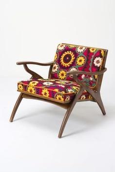Inge Chair, Vintage Suzani