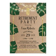 Rustic Tropical Gold Pineapple Luau Retirement Card - invitations personalize custom special event invitation idea style party card cards
