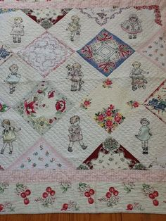 handkerchief+quilts | made this quilt using crayons and vintage style handkerchief's
