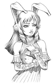 Bunny Girl Steampunk Coloring Page