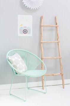 mint chair, ladder