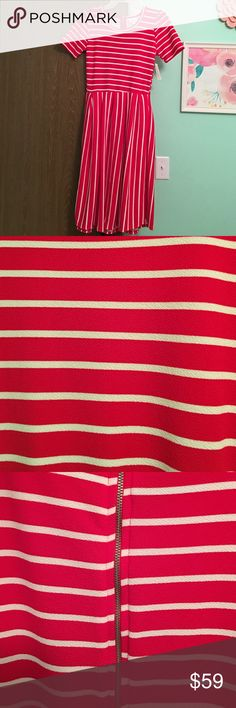 Holiday Red LuLaRoe Amelia Stripes line up in the back, red and white! Perfect for Christmas, Valentine's Day, Memorial Day, 4th of July! LuLaRoe Dresses