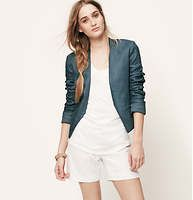 """Cropped Linen Open Jacket - Clean, collarless and cropped: everything we want in a modern jacket, crafted in luxe linen. Long sleeves. Open front. Welt pockets. Button cuffs. Lined. 20"""" long."""