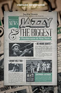 Check out Jazz | Vintage Newspaper Poster by PuneDesign on Creative Market
